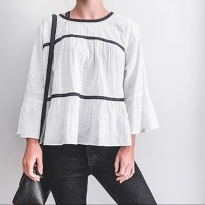 Crown & Ivy Textured Flowy Bell Sleeve White Top